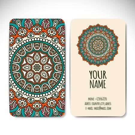 indische muster: Visitenkarte. Weinlese-dekorative Elemente. Hand gezeichnet Hintergrund Illustration
