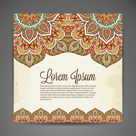 Vector background. Card or invitation. Vintage decorative elements. Hand drawn background Çizim