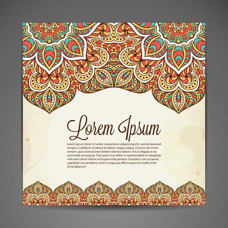 indian wedding: Vector background. Card or invitation. Vintage decorative elements. Hand drawn background Illustration