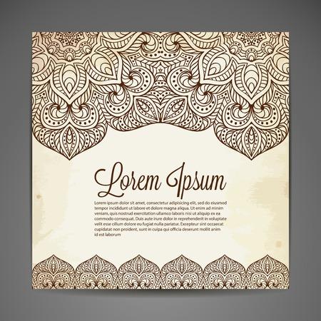 indische muster: Vector Hintergrund. Karte oder Einladung. Weinlese-dekorative Elemente. Hand gezeichnet Hintergrund
