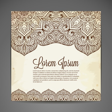 Vector background. Card or invitation. Vintage decorative elements. Hand drawn background Vettoriali