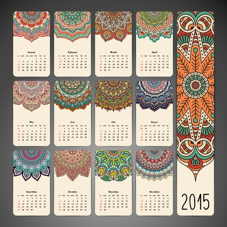 Vintage Calendar. Round Ornament Pattern. Vintage decorative elements. Hand drawn background. Islam, Arabic, Indian, ottoman motifs.  イラスト・ベクター素材