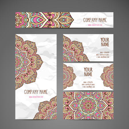 romance: Business card. Vintage decorative elements. Hand drawn background Illustration