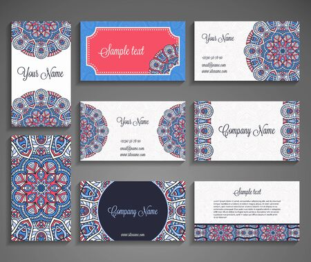 graphics card: Business card vector background in ethnic style