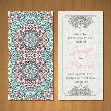 office background: Business card vector background in ethnic style