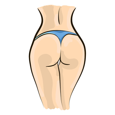 naked female: Weight loss illustration. Keeping figure and fitness. Attractive buttocks. Flat design vector