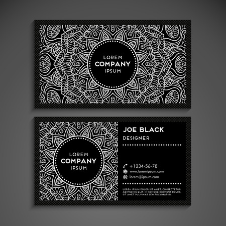 contact information: Business card vector background in ethnic style