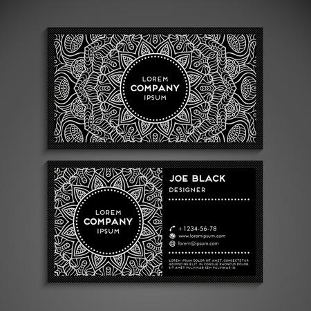 personalausweis: Visitenkarte Vektor-Hintergrund in ethnischen Stil