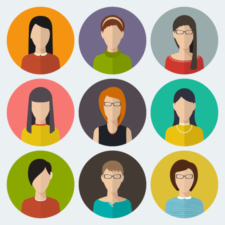 girl glasses: Set of round flat icons with women. Vector
