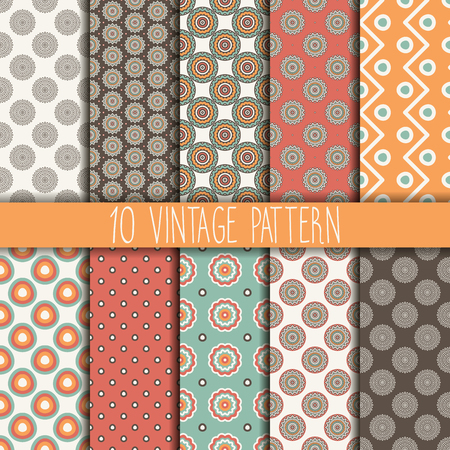 fabric patterns: Seamless texture with geometric ornament. Vector set of patterns