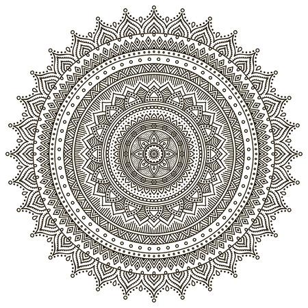 circulo de personas: Mandala. Patrón de ornamento redondo. Elementos decorativos vintage. Mano fondo dibujado Vectores