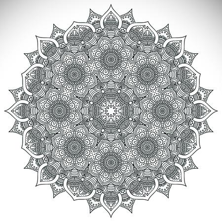 Mandala. Round Ornament Pattern. Vintage decorative elements. Hand drawn background