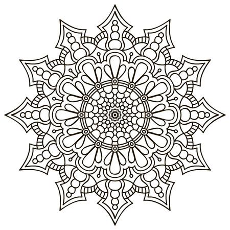 Mandala. Round Ornament-Muster. Weinlese-dekorative Elemente. Hand gezeichnet Hintergrund Standard-Bild - 42204249