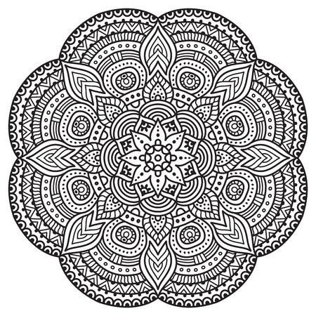 sole: Vector Mandala. Ornamento rotondo in stile etnico. Tiraggio della mano