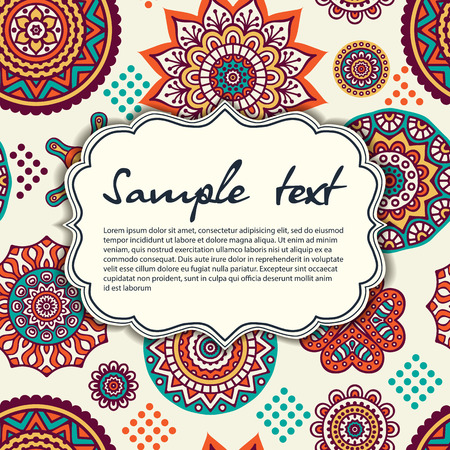 indische muster: Elegante Karte mit Spitze Ornament und Platz f�r Text auf Hintergrund. Vintage-Stil. Hochzeitseinladung. Vector Mandala. Illustration