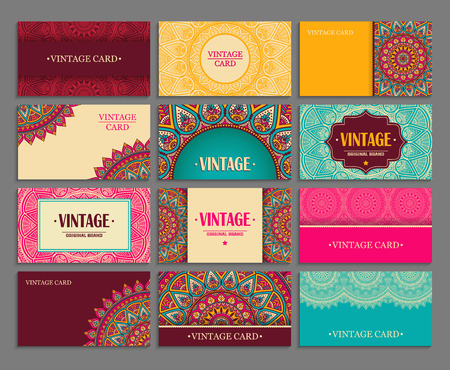 Business card. Vintage decorative elements. Hand drawn background Illusztráció