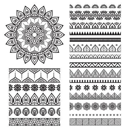 arabesco: Vector de la mandala. Ornamento redondo en estilo étnico. Dibujar a mano