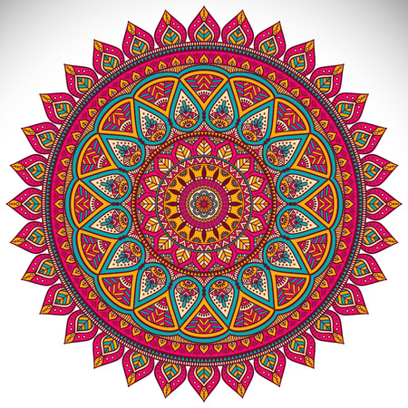 Vector Mandala. Round ornament in ethnic style. Hand draw 版權商用圖片 - 42206100
