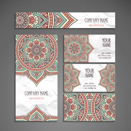 decorative background: Business card. Vintage decorative elements. Hand drawn background Illustration
