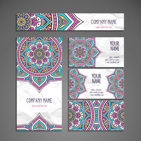 Business card. Vintage decorative elements. Hand drawn background Stock Illustratie