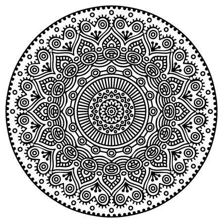 tribales: Mandala. Patr�n de ornamento redondo. Elementos decorativos vintage. Mano fondo dibujado Vectores