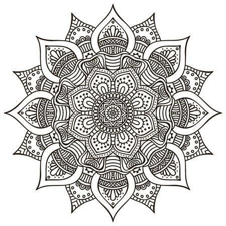 Mandala. Rotonda ornamento. Elementi decorativi d'epoca. Disegnata a mano di fondo Archivio Fotografico - 42206332