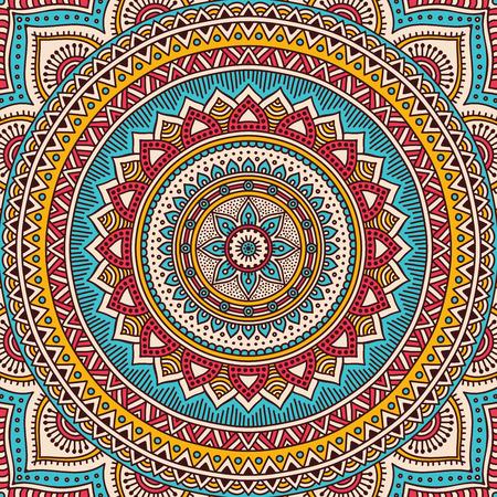 Ornamento tarjeta hermosa con la mandala. Elemento círculo geométrico hecho en vector Ilustración de vector