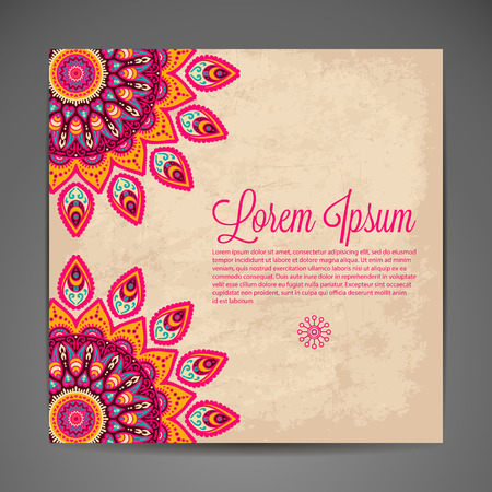 indian fabric: Elegant Indian ornamentation on a dark background. Stylish design. Can be used as a greeting card or wedding invitation