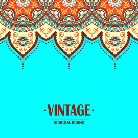 Elegante ornamento indiano su uno sfondo scuro. Design elegante. Può essere usato come un biglietto di auguri o un invito di nozze Archivio Fotografico - 42422633