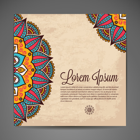 invitations card: Elegant Indian ornamentation on a dark background. Stylish design. Can be used as a greeting card or wedding invitation