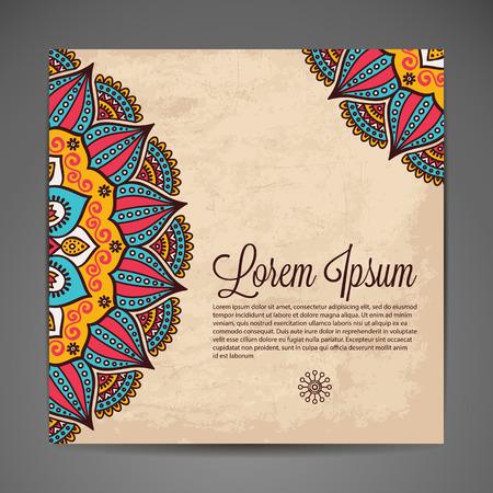 Elegante indische Verzierung auf einem dunklen Hintergrund. Stilvolles Design. Kann als Grußkarte oder Hochzeitseinladung verwendet werden