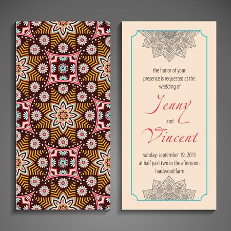 ornamentation: Elegant Indian ornamentation on a dark background. Stylish design. Can be used as a greeting card or wedding invitation