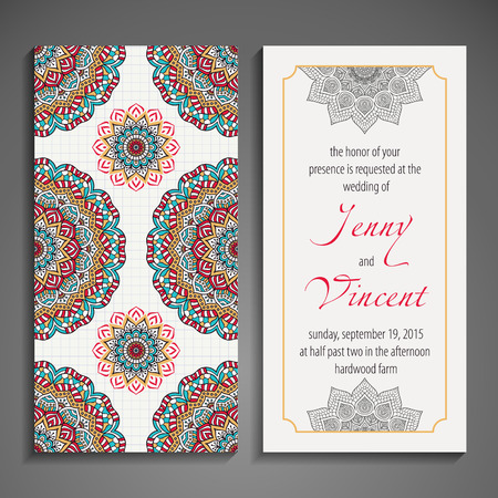 ornament frame: Elegant Indian ornamentation on a dark background. Stylish design. Can be used as a greeting card or wedding invitation