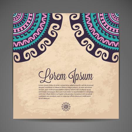 bodas de plata: Elegante ornamentación india sobre un fondo oscuro. Diseño elegante. Se puede utilizar como una tarjeta de felicitación o invitación de la boda