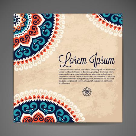 Elegant Indian ornamentation on a dark background. Stylish design. Can be used as a greeting card or wedding invitation