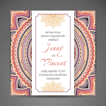 greeting card invitation wallpaper: Elegant Indian ornamentation on a dark background. Stylish design. Can be used as a greeting card or wedding invitation