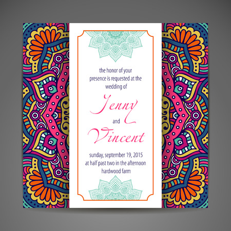 invitation frame: Elegant Indian ornamentation on a dark background. Stylish design. Can be used as a greeting card or wedding invitation