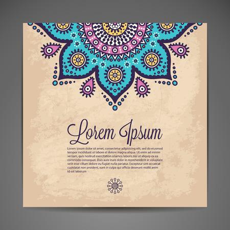 暗い背景にエレガントなインドの装飾。スタイリッシュなデザイン。結婚式招待状やグリーティング カードとして使えます