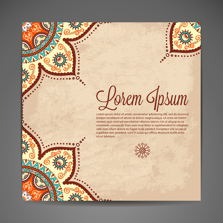 seasons greeting card: Elegant Indian ornamentation on a dark background. Stylish design. Can be used as a greeting card or wedding invitation