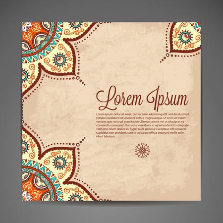 Elegante ornamentación india sobre un fondo oscuro. Diseño elegante. Se puede utilizar como una tarjeta de felicitación o invitación de la boda Ilustración de vector