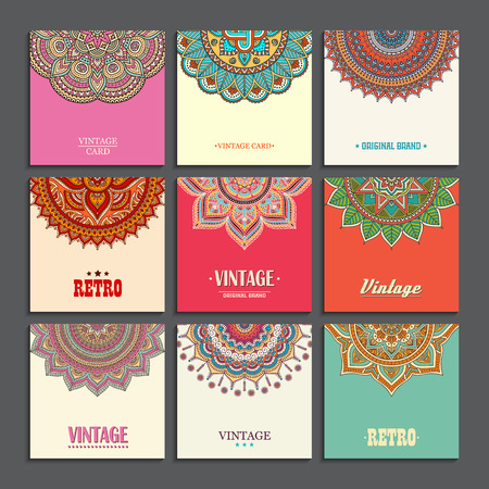Elegant Indian ornamentation on a dark background. Stylish design. Can be used as a greeting card or wedding invitation