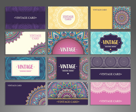 Collection Business card or invitation. Vector background. Vintage decorative elements. Hand drawn background. Çizim