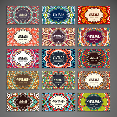 indische muster: Sammlung Visitenkarte oder Einladung. Vector Hintergrund. Weinlese-dekorative Elemente. Hand gezeichnet Hintergrund.