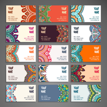 motif pattern: Collection Business card or invitation. Vector background. Vintage decorative elements. Hand drawn background. Illustration