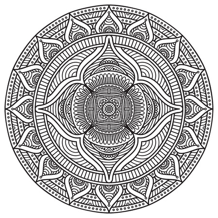 mandala vector: Vector Mandala. Round ornament in ethnic style. Hand draw
