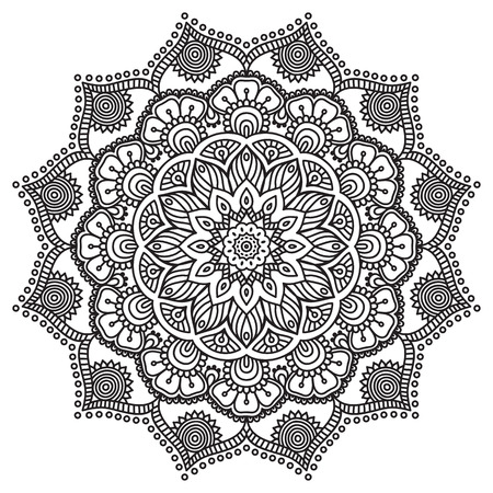 Vector Mandala. Round ornament in ethnic style. Hand draw