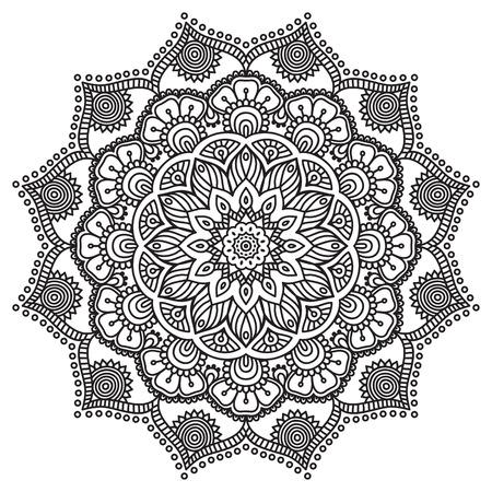 Vector Mandala. Round ornament in ethnic style. Hand draw 版權商用圖片 - 42370708