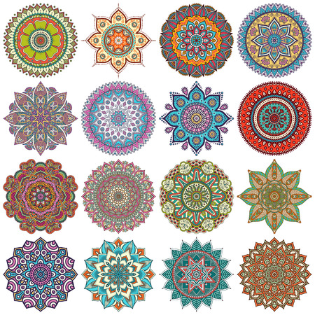 symbol decorative: Vector Mandala. Round ornament in ethnic style. Hand draw