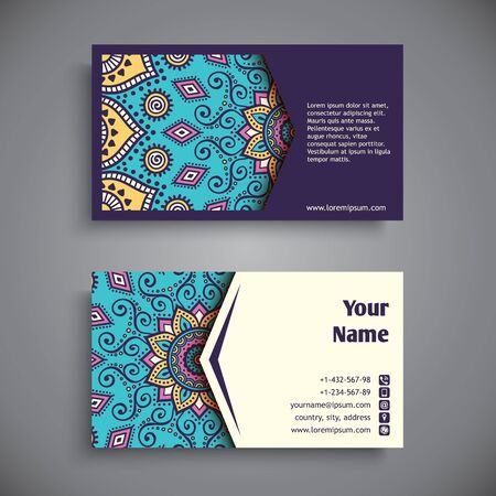 motif: Business card. Vintage decorative elements. Hand drawn background Illustration