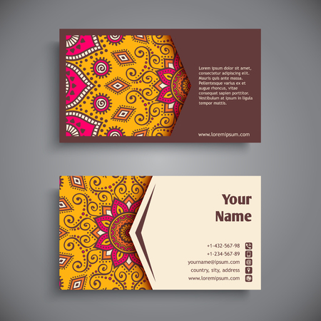 card template: Business card. Vintage decorative elements. Hand drawn background Illustration